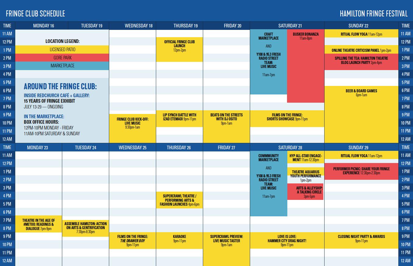 Fringe Club Schedule